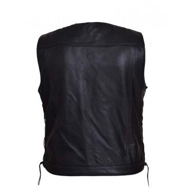 Men's Zipper Front V-neck Leather Club Vest