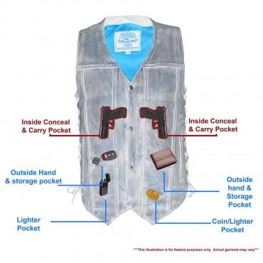Men's Brown Distressed 10 Pocket Vest