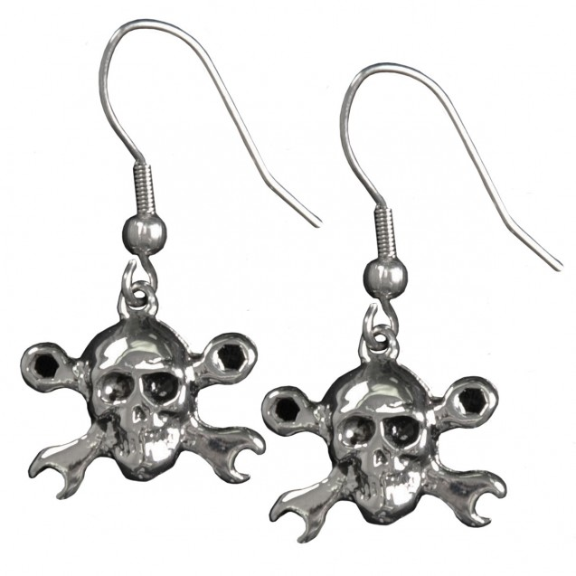 Stainless Steel Skull and Wrenches Earrings